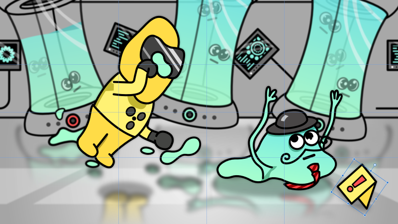 Illustration featuring a guy in a hazmat and glob