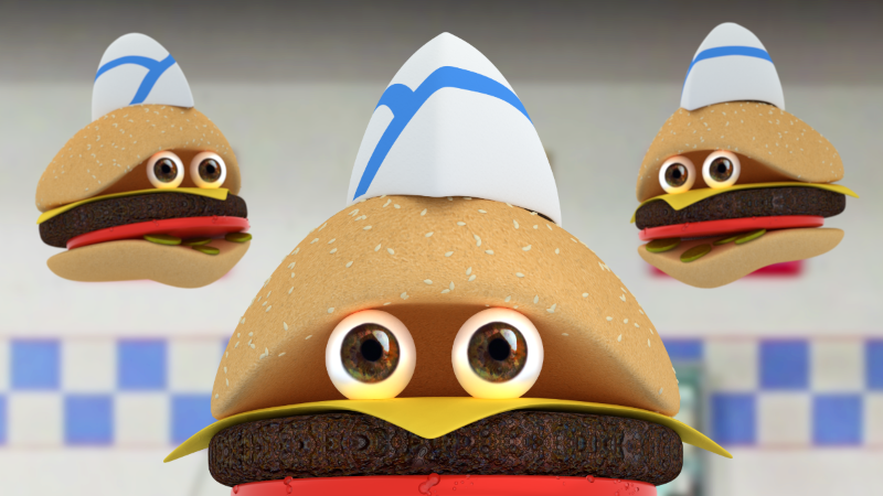 A burger with eyes staring at you