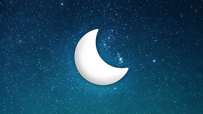 Project Mora's moon icon on a starry background